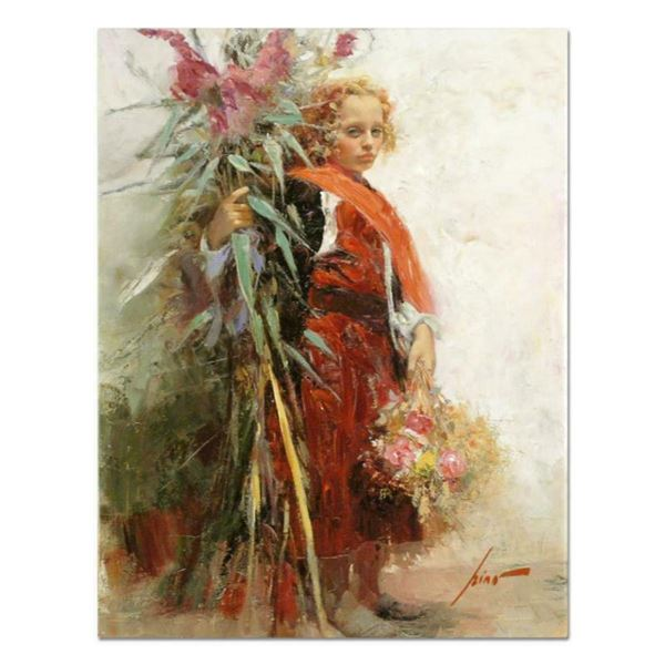 """Pino (1939-2010), """"Flower Child"""" Artist Embellished Limited Edition on Canvas, AP Numbered and Hand"""