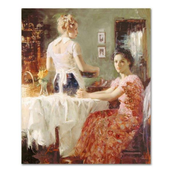 """Pino (1939-2010), """"Sharing Moments"""" Artist Embellished Limited Edition on Canvas, CP Numbered and Ha"""