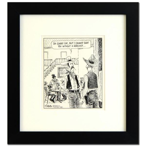 """Bizarro, """"Old West Bar"""" is a Framed Original Pen & Ink Drawing, by Dan Piraro, Hand Signed by the Ar"""