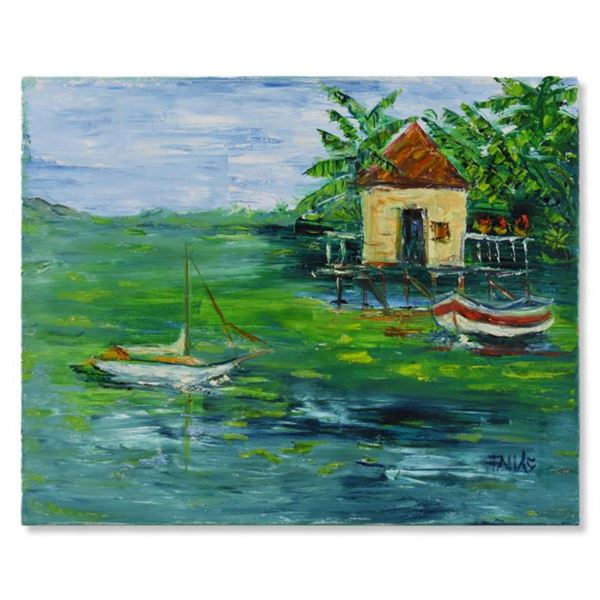 """Elliot Fallas, """"Dock Side"""" Original Oil Painting on Canvas, Hand Signed with Letter of Authenticity."""