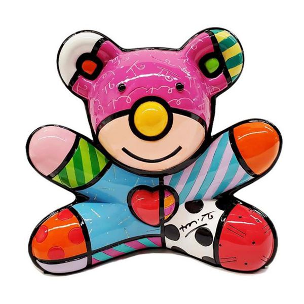 """Romero Britto, """"Summer Bear"""" Hand Signed Limited Edition Sculpture; Authenticated."""