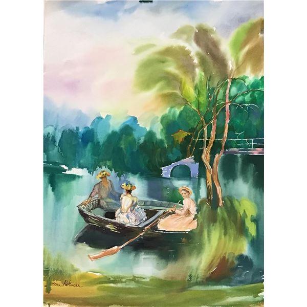 """Zina Roitman- Original Watercolor """"Sunday at the lake """""""