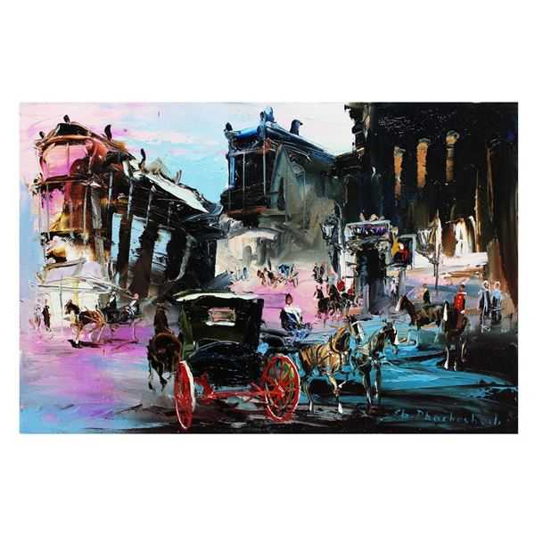 "Shalva Phachoshvili- Original Oil on Canvas ""The Entrance To The City"""