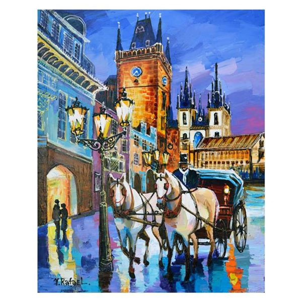 """Yana Rafael, """"Carriage Ride by the Clocktower"""" Hand Signed Original Painting on Canvas with COA."""
