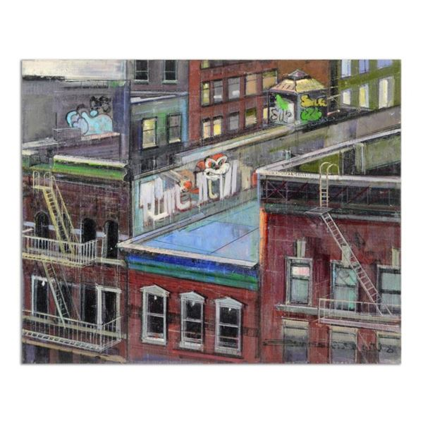 """Alex Zwarenstein, """"Rooftop Grafetti"""" Original Oil Painting on Canvas, Hand Signed with Certificate o"""