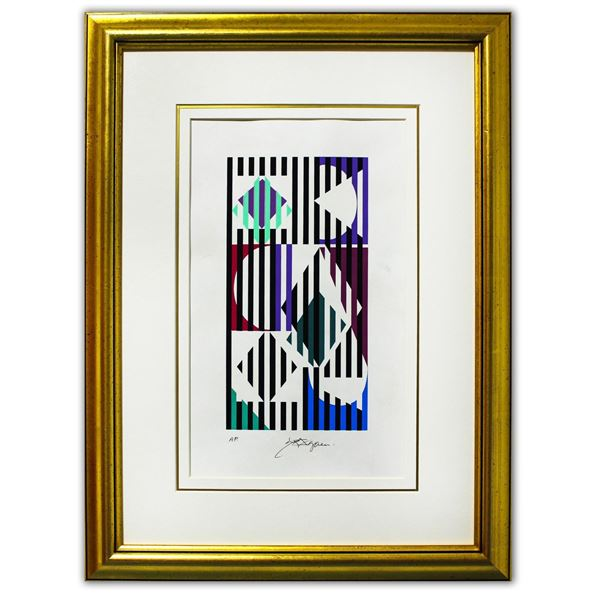 "Yaacov Agam- Original Silkscreen on parchment Paper ""Untitled"""