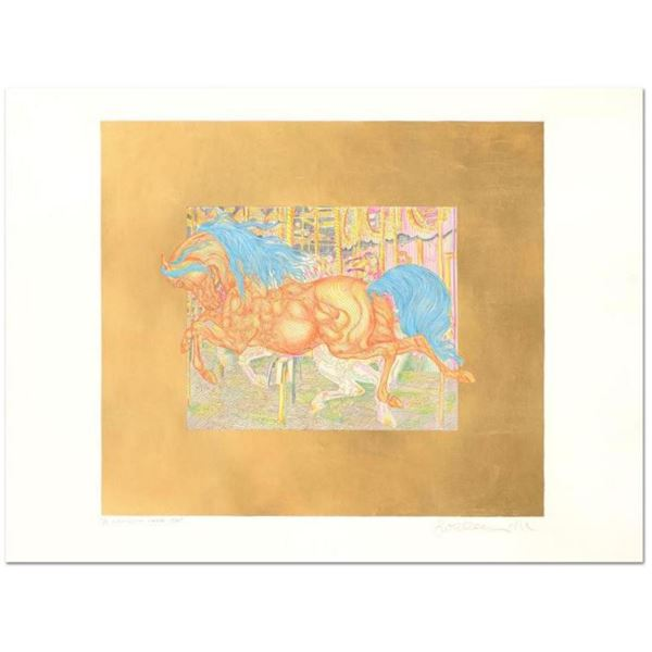"Guillaume Azoulay- Limited Edition Hand Colored Etching with Hand Laid Gold Leaf ""Manege"""