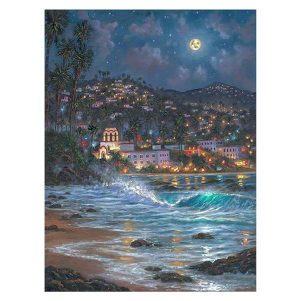 "Robert Finale, ""Starry Night Laguna"" Hand Signed, Artist Embellished Limited Edition on Canvas with"