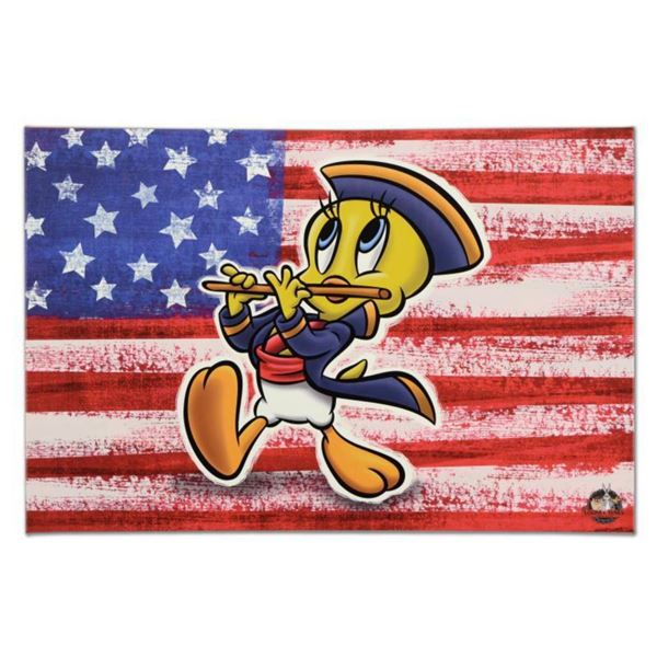 "Looney Tunes, ""Patriotic Series: Tweety"" Numbered Limited Edition on Canvas with COA. This piece com"