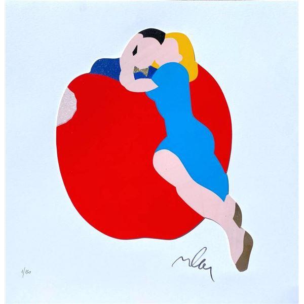 """Marco Lodola- Original Serigraph on Paper with golden leaf """"APPLE"""""""