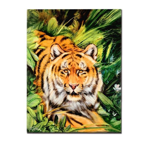 """Tiger Surprise"" Limited Edition Giclee on Canvas by Martin Katon, Numbered and Hand Signed. This pi"
