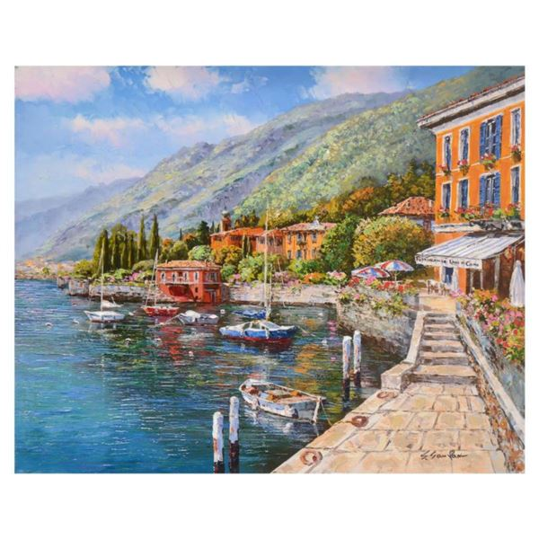 "Sam Park, ""Lake Como Villa"" Hand Embellished Limited Edition Serigraph on Canvas, Numbered and Hand"