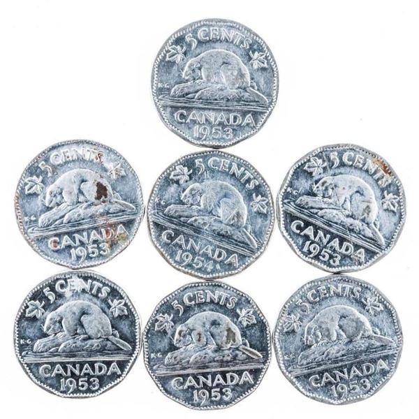 Bag (7) 1953-1954 Nickels