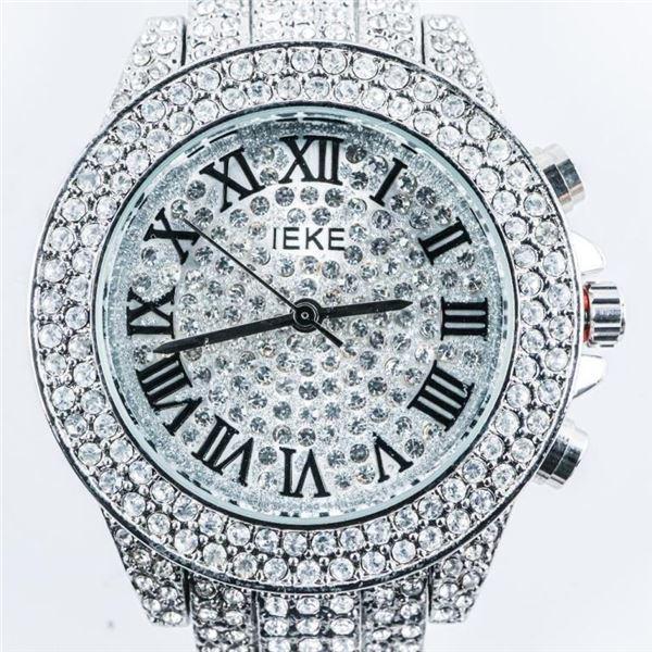 Lady's Fancy Quartz Watch Micro Pave Set  Swarovski Elements