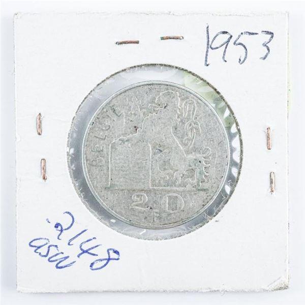 Belgium 1953 Silver 20FR .2148 ASW