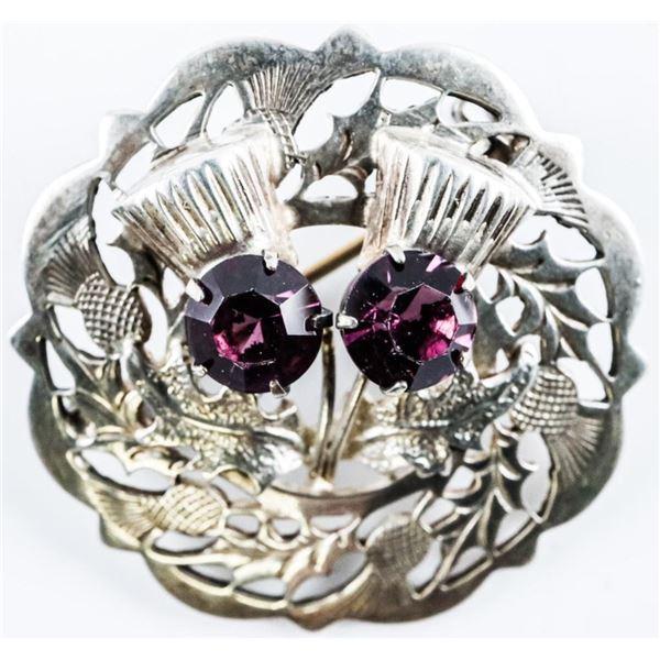 Estate Vintage Pin - 2 Amethyst Handmade