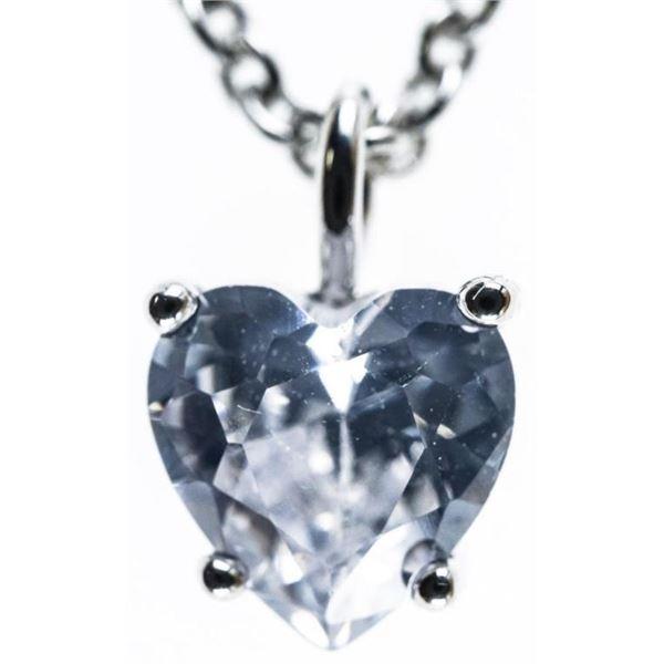 Ladies 1ct Heart Cut Swarovski Elements  Solitaire Necklace