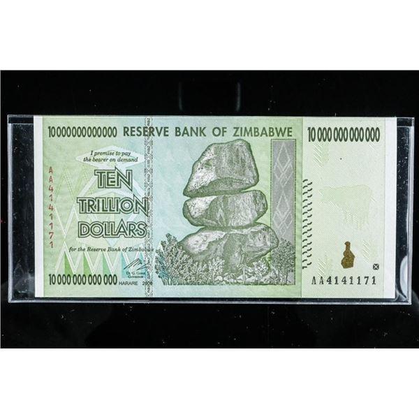 Reserve Bank of Zimbabwe Ten Trillion Dollars  'Not a Copy' UNC