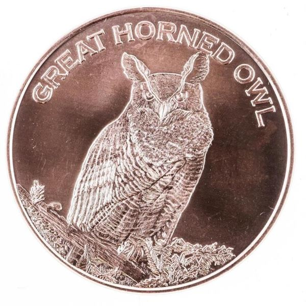 USA Great Horned Owl .999 Fine Pure Copper