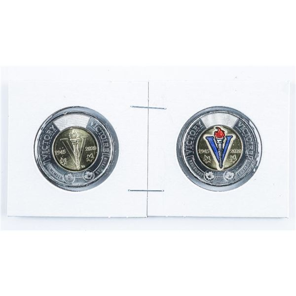 1945-2020 Pair Victory Canada 2.00 Coins