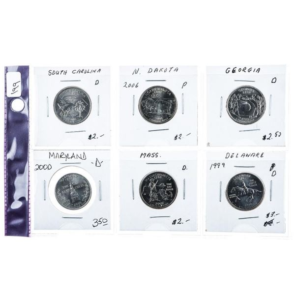 Group of (6) USA State Quarter Dollars