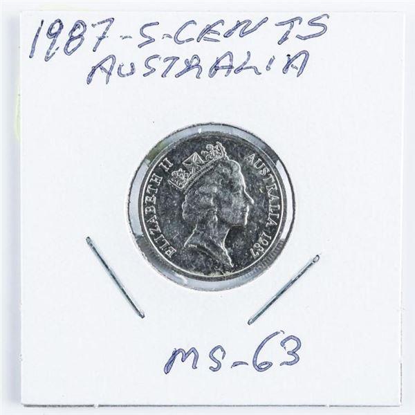 1987 Australia 5 Cents MS63