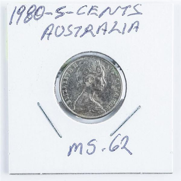 1980 Australia 5 Cents MS62