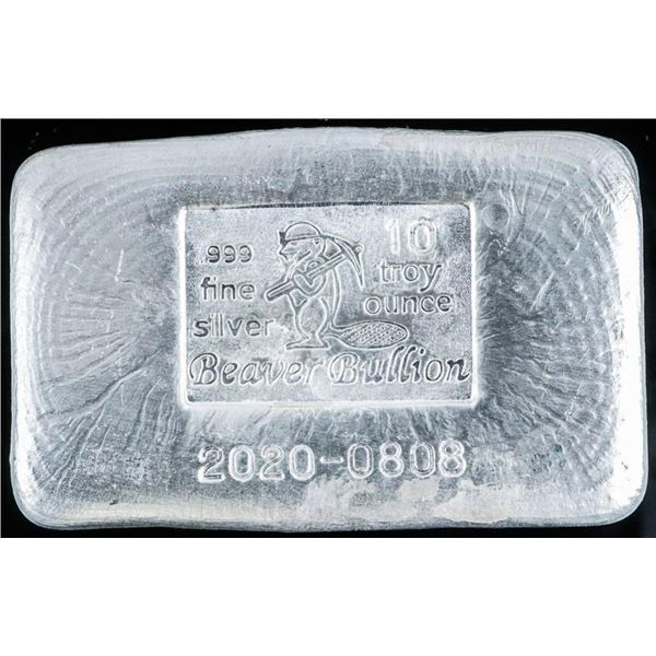 Investment Bullion Hand Poured .999 Fine  Silver 10 Troy Ounce Brick - dated 2021 with  Serial Numbe