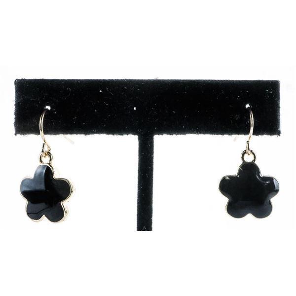 Chic - 5 Leaf Clover Black Enamel Earrings