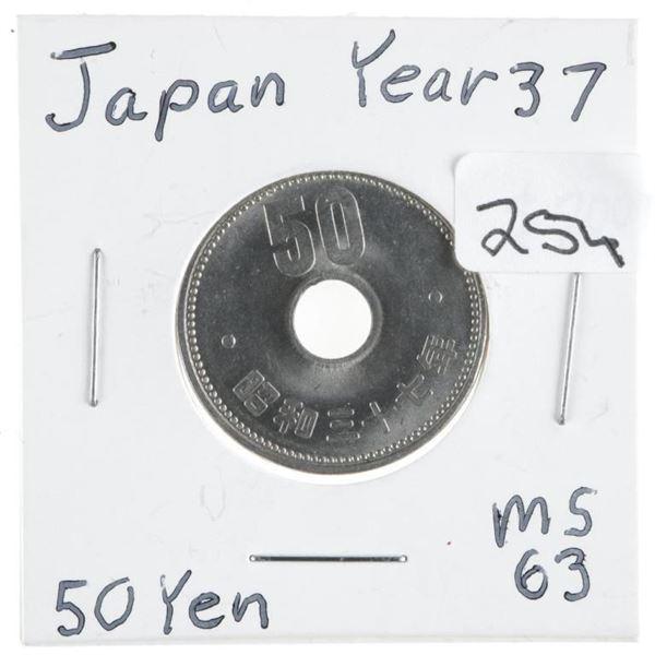 Japan Year 37 MS63 50 Yen