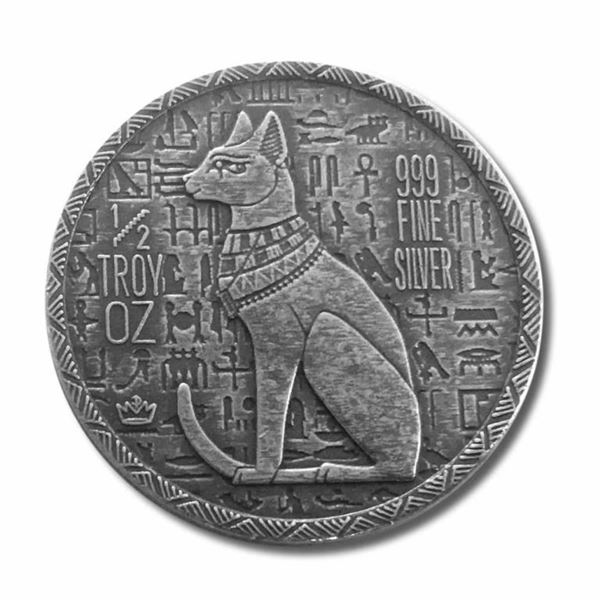 Egyptian Bastet Cat Collector Bullion Round  .999 Fine Silver