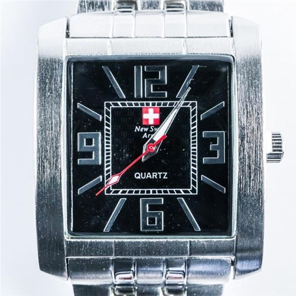 Gents NSA Quartz Watch Square Black Dial