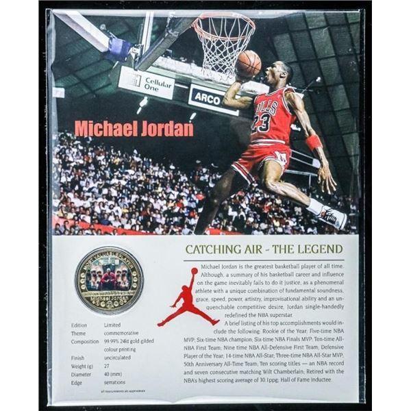 Michael Jordan 24kt Gold Plate Medallion with  Giclee 8x10