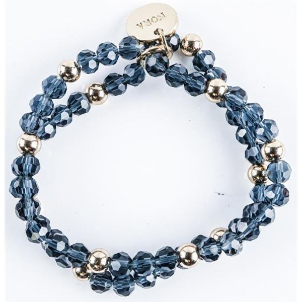 NORA Designer of Norway Double Crystal and  Silver Bead Bracelet