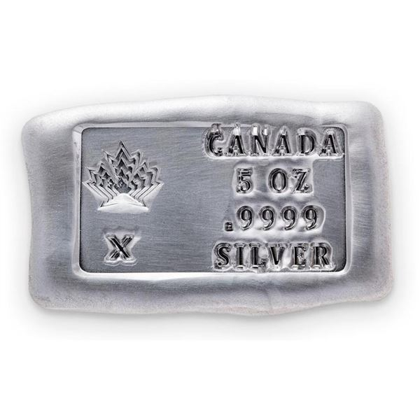 Collector Bullion Brick 'Maple Leaf' .999  Fine Pure Hand Poured Silver 5oz Troy ASW