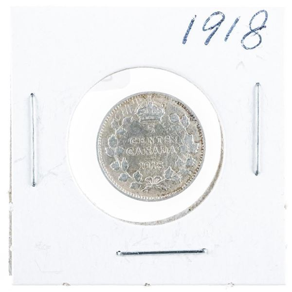 1918 CANADA Silver 5 Cents