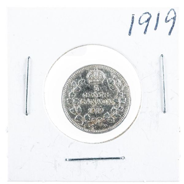 1919 CANADA Silver 5 Cents