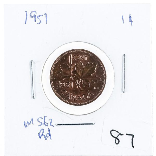 1951 Canada 1 cent MS62 Red