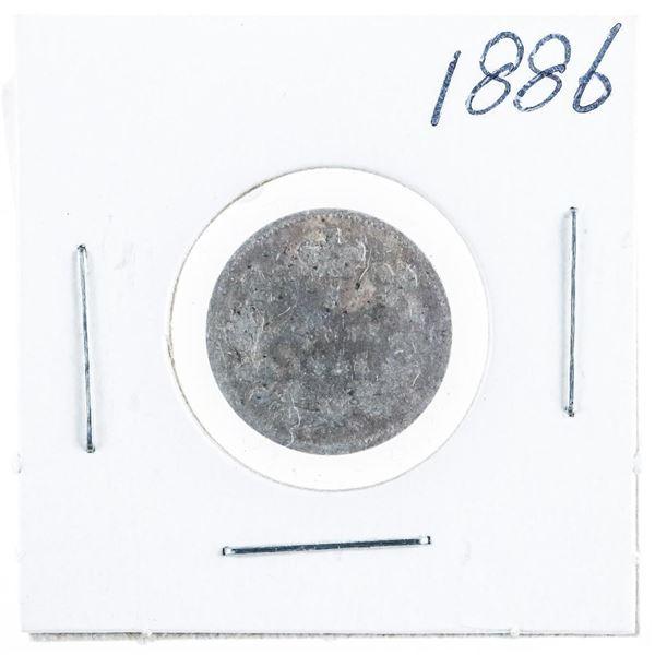 1886 CANADA Silver 5 Cents