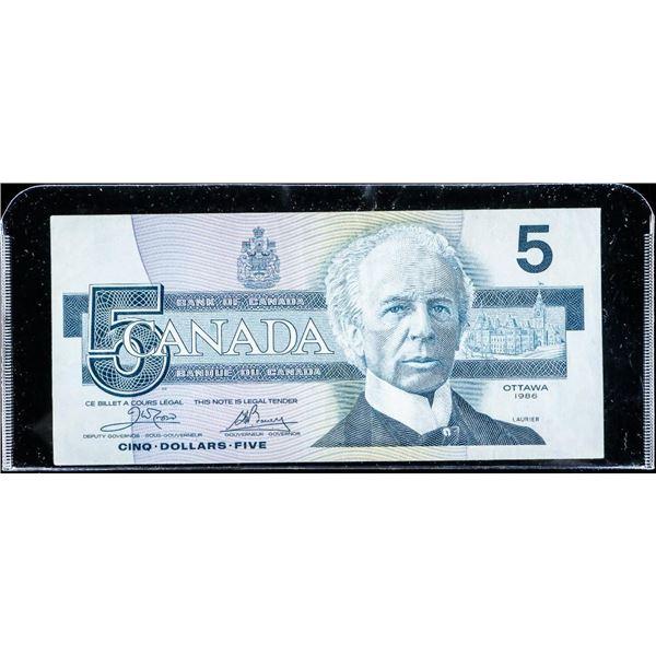 Bank of Canada 1986 5.00 ENX Blue BPN (VF)