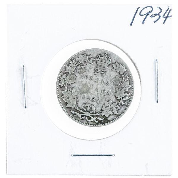 1934 Canada Silver 25 Cents