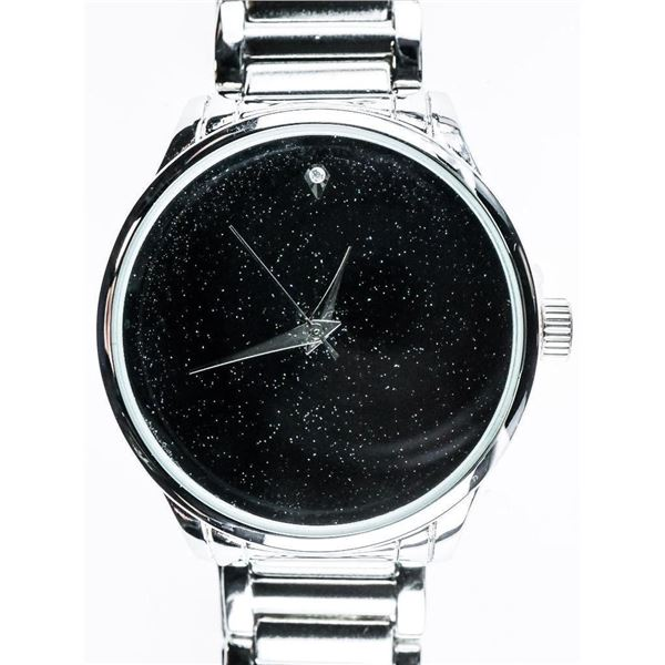 Gents Quartz Watch Black Dial, Stainless Steel
