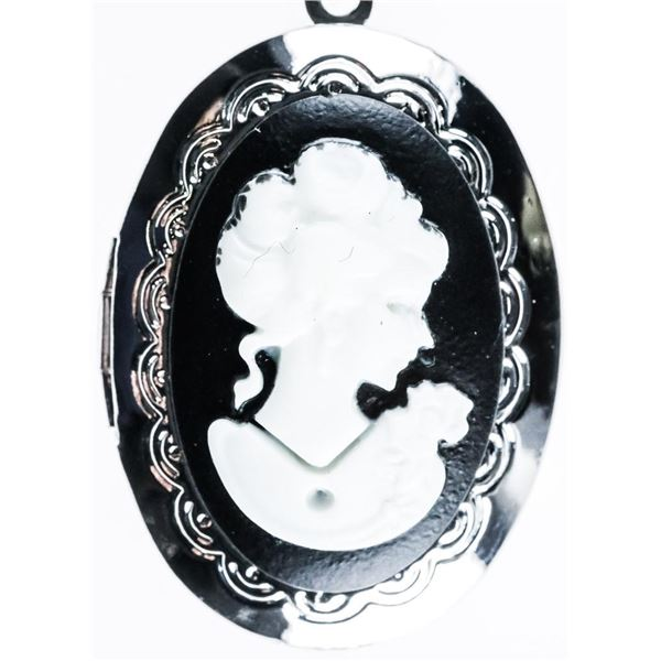 Black Cameo Locket Pendant and Chain