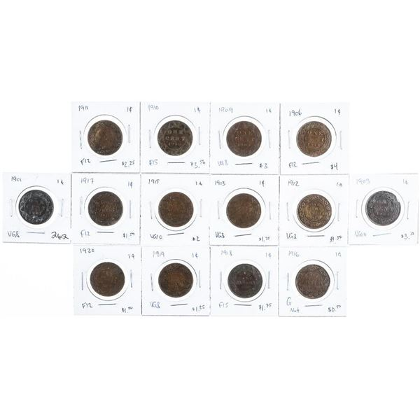 Group of (14) Canada Large Cent Coins - 1901-1920 Era