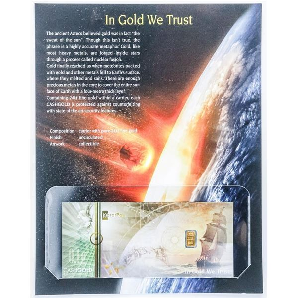 In Gold We Trust .999 Fine Pure Gold Bar in Carrier with Giclee Art Card
