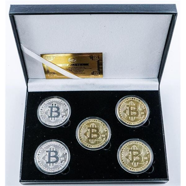 BITCOIN Collection 2x Silver Plated and 3x Gold Plated with C.O.A. - LE