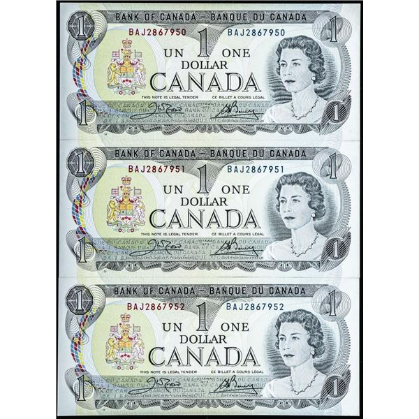 Lot of (3) Bank of Canada 1973 1.00 in Sequence (BAJ)