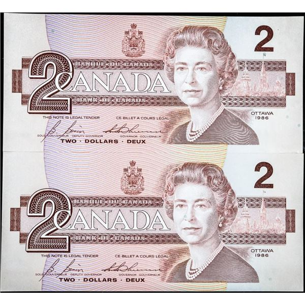 Lot of (2) Bank of Canada 1986 2.00 in Sequence UNC