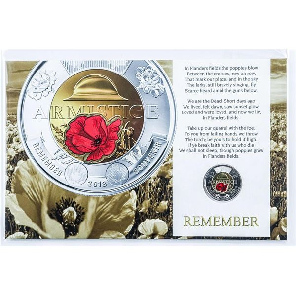 Armistice Remember 2018 2.00 Coin, Red Poppy and Art Card