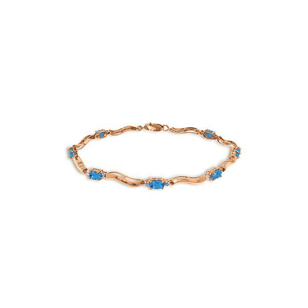 Genuine 2.16 ctw Blue Topaz & Diamond Bracelet 14KT Rose Gold - REF-76A7K